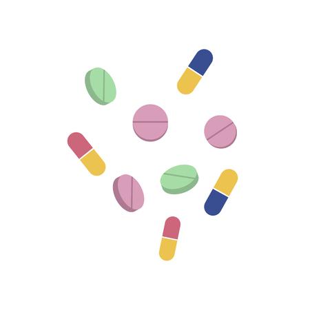 Vectorpillen en capsules vlakke reeks. Illustratie op een witte achtergrond wordt geïsoleerd die. Koud en griep behandeling concept, medicijnen en drugs. Cartoon ziekte therapie hulpmiddelen, tabletten Stock Illustratie