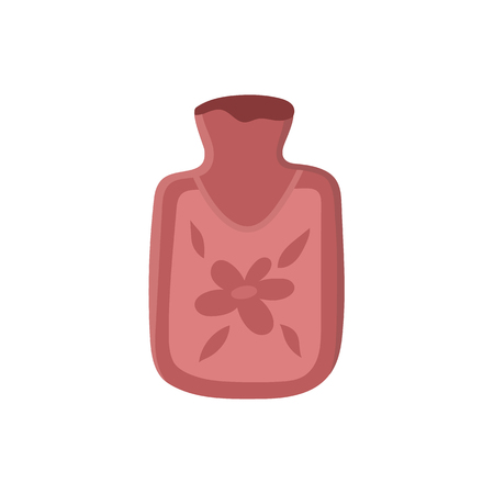 Vector hot water bottle flat illustration isolated on a white background. Flu and cold treatment tool. Cartoon medical cure, pink colored