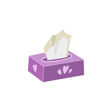 Vector napkin, facial tissue holder flat illustration isolated on a white background. Hygiene protector, cold and flu, runny nose treatment. Cartoon violet box with drawn hearts.
