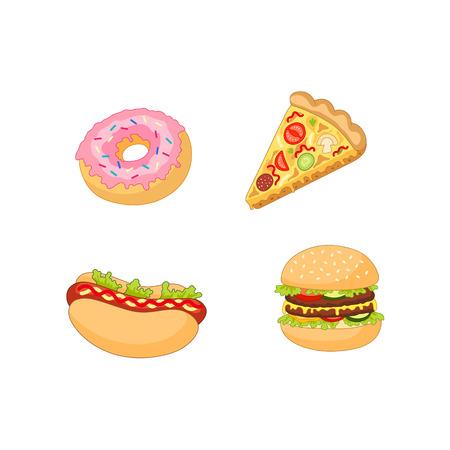 벡터 햄버거 핫도그 피자 도넛 집합입니다. 흰색 배경에 평면 만화 격리 된 그림. 빠른 정크 푸드 개념입니다. 맛있는 도넛, 페퍼로니 토마토 피자 조각