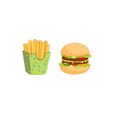 toasted: Vector sandwich, burger and french fries set. Fast food flat cartoon isolated illustration on a white background. Humburger with cheese, tomato salad lettuce and potato fry in paper box