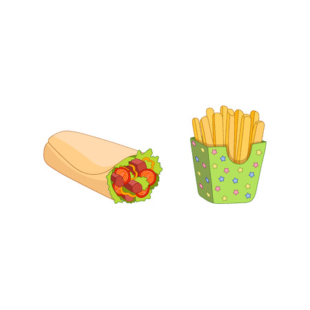 Vector shawarma roll and french fries set. Fast food flat cartoon isolated illustration on a white background. shawarma with chicken, tomato salad lettuce and potato fry in paper box Illustration