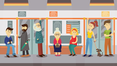 People in subway train car, sitting on seats, standing and holding handrails, cartoon vector illustration. Full length portrait of people, men and women, sitting and standing in subway train