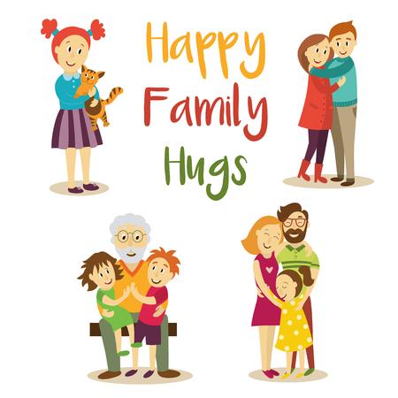 家族 - 親娘、孫、猫ペットを保持している小さな女の子のカップル、漫画のベクトル図を愛する祖父を抱き締めるホワイト バック グラウンドです。