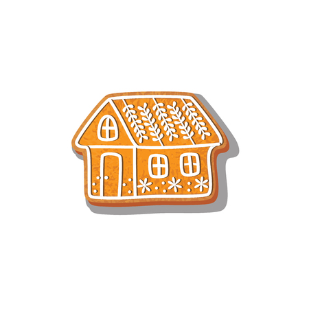 Gingerbread christmas house cookie vector isolated illustration on a white background. New year baked candy cartoon sweet cake. Traditional winter holiday home treat Illusztráció