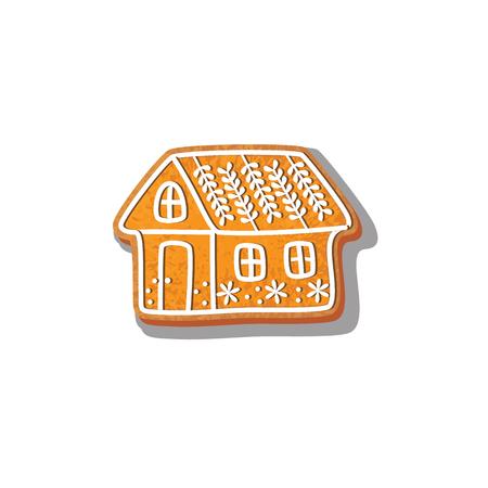 Lebkuchenweihnachtshausplätzchenvektor lokalisierte Illustration auf einem weißen Hintergrund. Neues Jahr gebackener Süßigkeitskarikatur-süßer Kuchen. Traditionelles Winterferienhaus Standard-Bild - 83141828