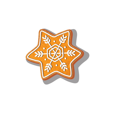 Gingerbread snowflake cookie vector isolated illustration on a white background. New year baked cartoon sweet cake man. Traditional winter holiday home treat Çizim