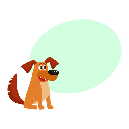 Cute brown funny house dog, puppy character sitting with friendly expression, cartoon vector illustration isolated on white background with speech bubble