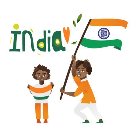 두 소년, 아이, 인도 국기와 인도 국가 이름 레터링, 만화 벡터 일러스트 레이 션 흰색 배경에 고립 된 십 대. 인도 3 세 국기, 인도 국가 이름을 보유하
