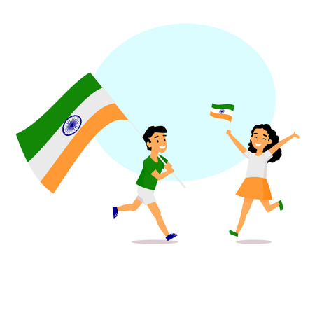 Two kids, boy and girl, running happily with tricolor Indian flags, simple cartoon vector illustration with space for text. Ilustração