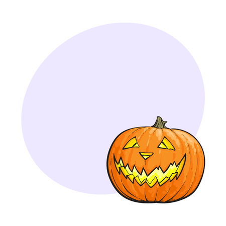 Jack o lantern, ripe orange pumpkin with carved scary face , traditional Halloween symbol, sketch vector illustration with space for text. Hand drawn Halloween pumpkin, jack o lantern Çizim