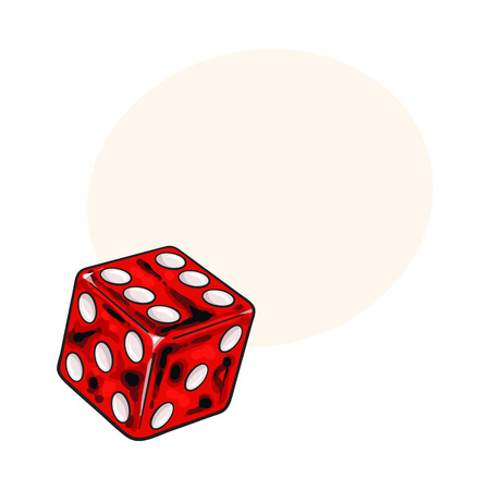 Realistic hand drawing of single shiny red dice, sketch style vector illustration with space for text. Hand drawn shiny dice, casino, gambling attribute Çizim
