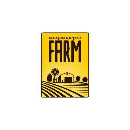 Logo aziendale verticale, badge, etichetta con campo, trattore, casa e torre dell'acqua su sfondo solare di sollevamento, illustrazione vettoriale. Logo a logo a due colori, badge, design con etichetta con agriturismo e campi Archivio Fotografico - 83141851