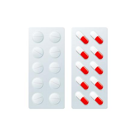 錠剤、カプセル フラットでベクトル水疱。白い背景で隔離の図。風邪やインフルエンザの治療概念、薬、薬。漫画病気療法ツール