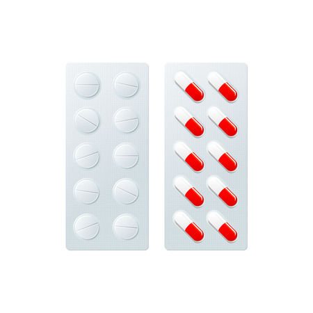 Vector blister with pills, capsules flat . Illustration isolated on a white background. Cold and flu treatment concept, medicine and drugs. Cartoon illness therapy tools