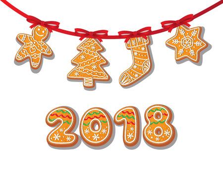 진저 쿠키는 화 환 벡터 흰색 배경에 고립 된 그림에 설정 새 해 2018 번호 구운 만화 달콤한 케이크 남자, 트리 스타킹 눈송이. 전통적인 겨울 휴가 가정 일러스트