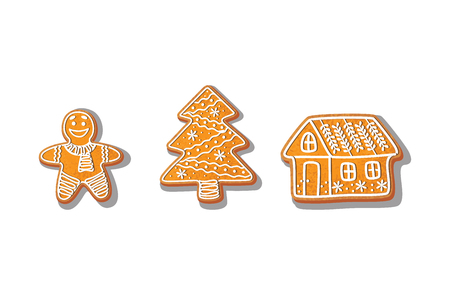 Lebkuchenplätzchen stellten Vektor lokalisierte Illustration auf einem weißen Hintergrund ein. Süßes Kuchen-Lebkuchenmann des neuen Jahres gebackener Karikatur, gezierter Baum, Haus. Traditionelles Winterferienhaus