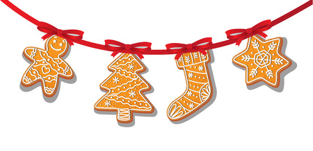 Gingerbread cookies set on garland vector isolated illustration on a white background. New year baked cartoon sweet cake man, tree snowflake stocking. Traditional winter holiday home treat Banco de Imagens - 83141857