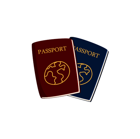 Two cartoon passports, travel documents, vector illustration isolated on white background. Couple of cartoon passports, red and blue, with golden globes on cover Ilustrace