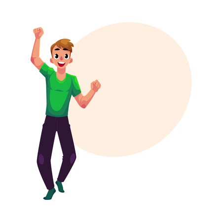 Young man, boy, guy, rejoicing, cheering, jumping in happiness and excitement, cartoon vector illustration with space for text. Full length portrait of happy rejoicing young man
