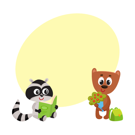 Cute animal student characters, bear with bunch of flowers, raccoon reading, cartoon vector illustration with space for text. Little animal student characters, back to school concept
