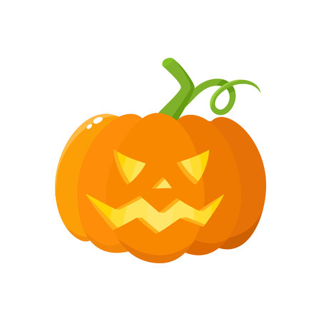 Jack o lantern, ripe orange pumpkin with carved scary face , traditional Halloween symbol, cartoon vector illustration isolated on a white background. Cartoon style Halloween pumpkin, jack o lantern Zdjęcie Seryjne - 83141870