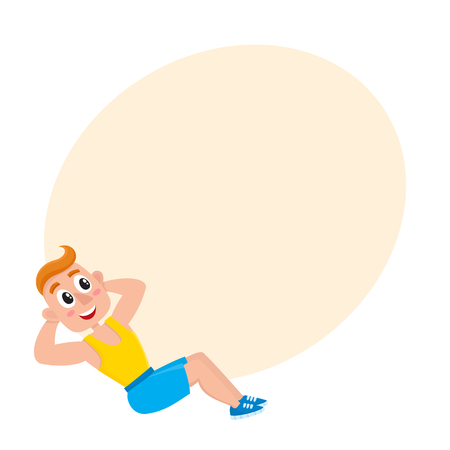 Young man doing sit ups, sport exercises, training in gym, cartoon vector illustration with space for text. Cartoon man, guy doing fitness exercises, sit ups in gym