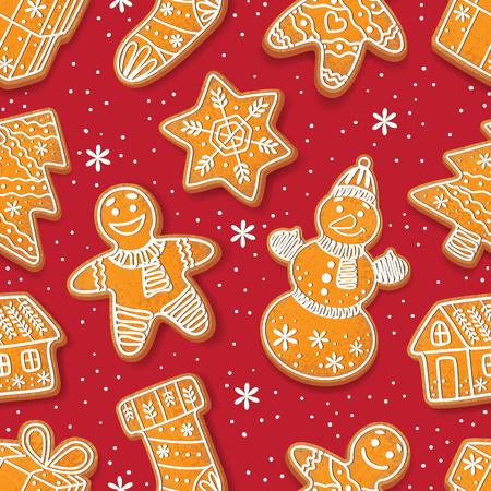 Naadloos die patroon door de verglaasde eigengemaakte koekjes van de Kerstmispeperkoek op rode achtergrond, beeldverhaal vectorillustratie wordt gevormd. Kerstmis gingerman, laars, boom, huis, sneeuwvlok. sneeuwpop peperkoek cookies Stockfoto - 83141873