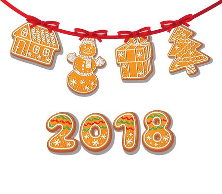 ジンジャーブレッドのクッキーは、白い背景にガーランド分離ベクトル図に設定します。新年 2018年番号焼き漫画甘いケーキ スノーマン、ギフト木