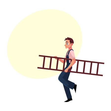 建設労働者、はしご、テキスト用のスペースと漫画ベクトル図を運ぶのジャンプ スーツのビルダー。笑みを浮かべてビルダー、梯子を運んでいる建