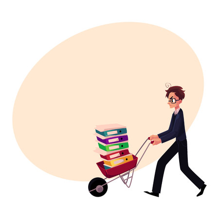 Young worried man, businessman in glasses pushing wheelbarrow full of document folders, cartoon vector illustration with space for text. Nervous businessman pushing wheelbarrow with folders