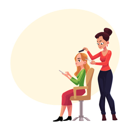 Hairdresser cutting hair, making haircut for blond woman who uses smartphone meanwhile, cartoon vector illustration with space for text.Hairdresser woman making haircut for her client