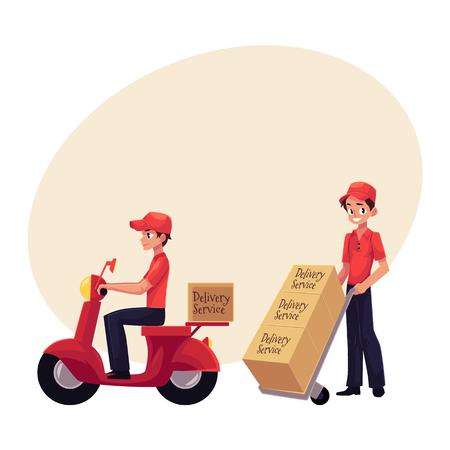 Koerier, levering arbeider rijden scooter, duwen dolly, handkar met vakken, cartoon vectorillustratie met ruimte voor tekst. Volledig lengteportret van de jonge mens van de leveringsdienst Stockfoto