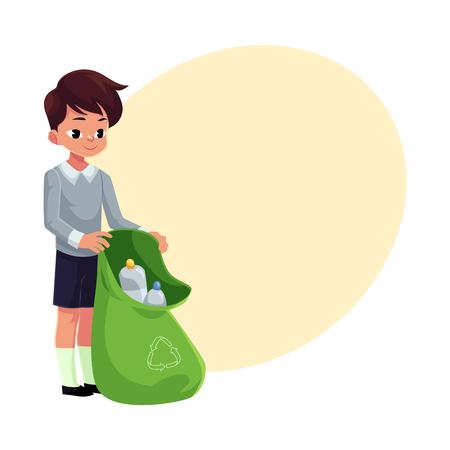 소년 플라스틱 병, 개념을 재활용하는 쓰레기를 들고 녹색 가방 텍스트위한 공간 벡터 일러스트 레이 션. . 플라스틱 병을 수집 쓰레기 봉투와 소년의  스톡 콘텐츠