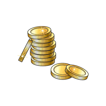 tower tall: Stack, pile of shiny blank, unlabeled gold coins, sketch vector illustration isolated on white background. Realistic hand drawing of stack of unlabeled golden coins, money symbol