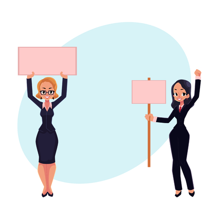 activist: Two girls, women, businesswomen on strike holding empty boards in one and two hands, cartoon vector illustration with space for text. Two business women with empty board on strike