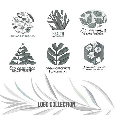 自然、エコ化粧品手描き、グレー ロゴ設定スタイルの葉と花をスケッチ、ベクトル白い背景のイラスト。  イラスト・ベクター素材