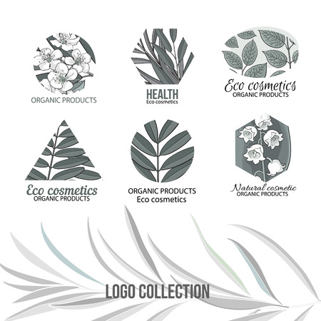 Natural, eco cosmetics grey logo set with hand drawn, sketch style leaves and flowers, vector illustration on white background.