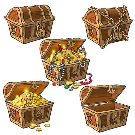 Cofres del tesoro pirata abierto y cerrado, bloqueado, vacío, lleno de monedas y joyas, dibujado a mano ilustración vectorial de dibujos animados aislado sobre fondo blanco. Conjunto de cofres del tesoro dibujados a mano, lleno y vacío Ilustración de vector