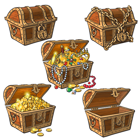 Open and closed pirate treasure chests, locked, empty, full of coins and jewelry, hand drawn cartoon vector illustration isolated on white background. Set of hand drawn treasure chests, full and empty 版權商用圖片 - 83220081