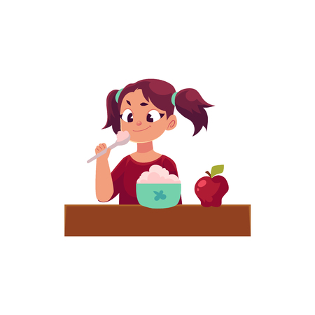 Little girl with ponytails having healthy breakfast, porridge and apple, daily routine, cartoon vector illustration isolated on white background. Cartoon little girl having breakfast