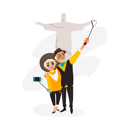 Vector adult couple makes selfie on statue of Christ the Redeemer in Rio background .Flat, cartoon Isolated illustration on a white background. Man and woman make photo by selfie stick on vacation
