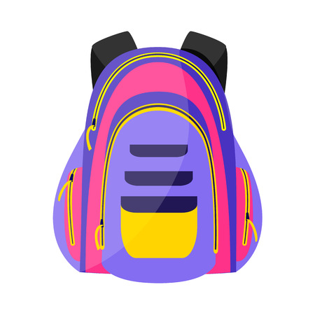 Flat colorful sport style, tourist backpack, school bag, vector illustration isolated on white background. Flat vector backpack icon, colorful illustration Illustration