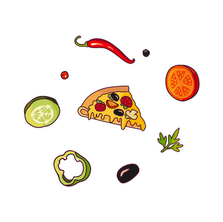 Vector flying ingredients ,pizza slice set flat isolated illustration on a white background. Vegetables for sandwich, roll shawarma fastfood preparation. Chilli, tomato pepper olive cucumber cartoon