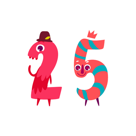 Vector cute animallike character number twenty five 25. Flat cartoon illustration on a white background. Happy birthday, new year decorative numbers. Funny smiling colored math, education symbols Illustration