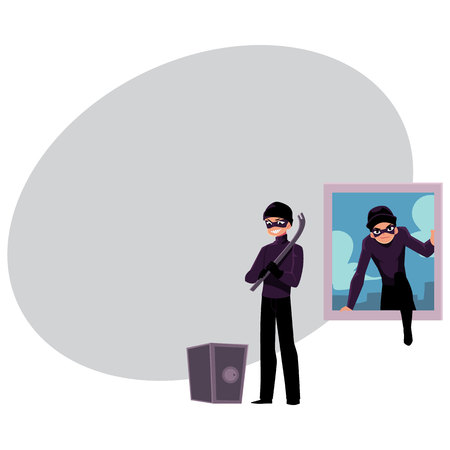 Thief, burglar climbing into house window, going to force open safe box, cartoon vector illustration with space for text. Burglar, robber breaking in house window, force opening safe box