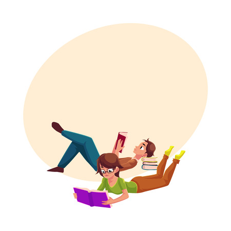 Boy, man reading book and woman in glasses reading book while lying on her stomach, cartoon vector illustration with space for text. Man and woman reading book