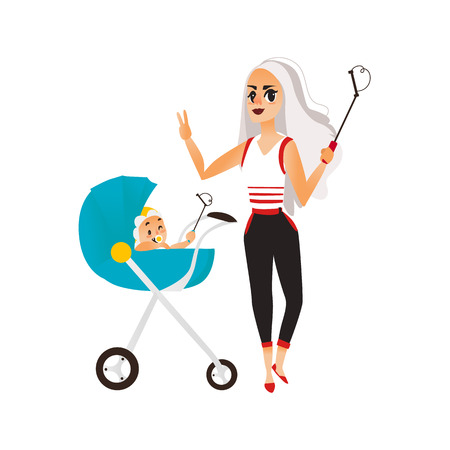 telephone cartoon: Vector woman with baby in stroller make selfie . Flat cartoon Isolated illustration on a white background. Female adult, infant makes photo by selfie stick on vacation