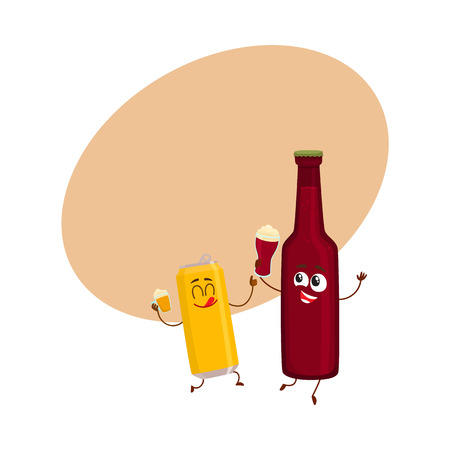 Funny beer bottle and can characters having fun, drinking, holding glasses, cartoon vector illustration with space for text. . Funny beer bottle and can characters with smiling human faces