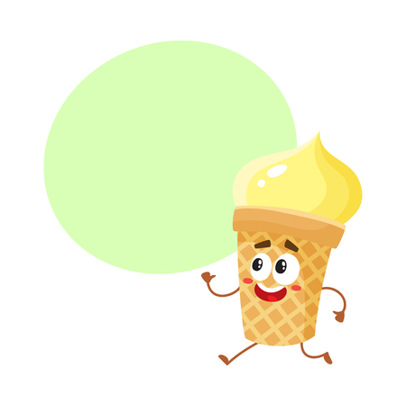 Funny smiling yellow ice cream character in wafer cup, cartoon style vector illustration with space for text. Cute smiley vanilla ice cream cup character with eyes and legs